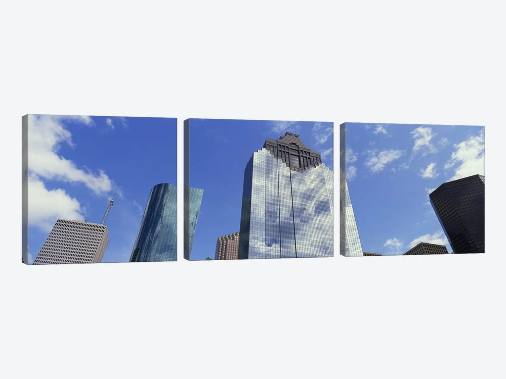 Low angle view of office buildings, Houston, Texas, USA by Panoramic Images 3-piece Art Print
