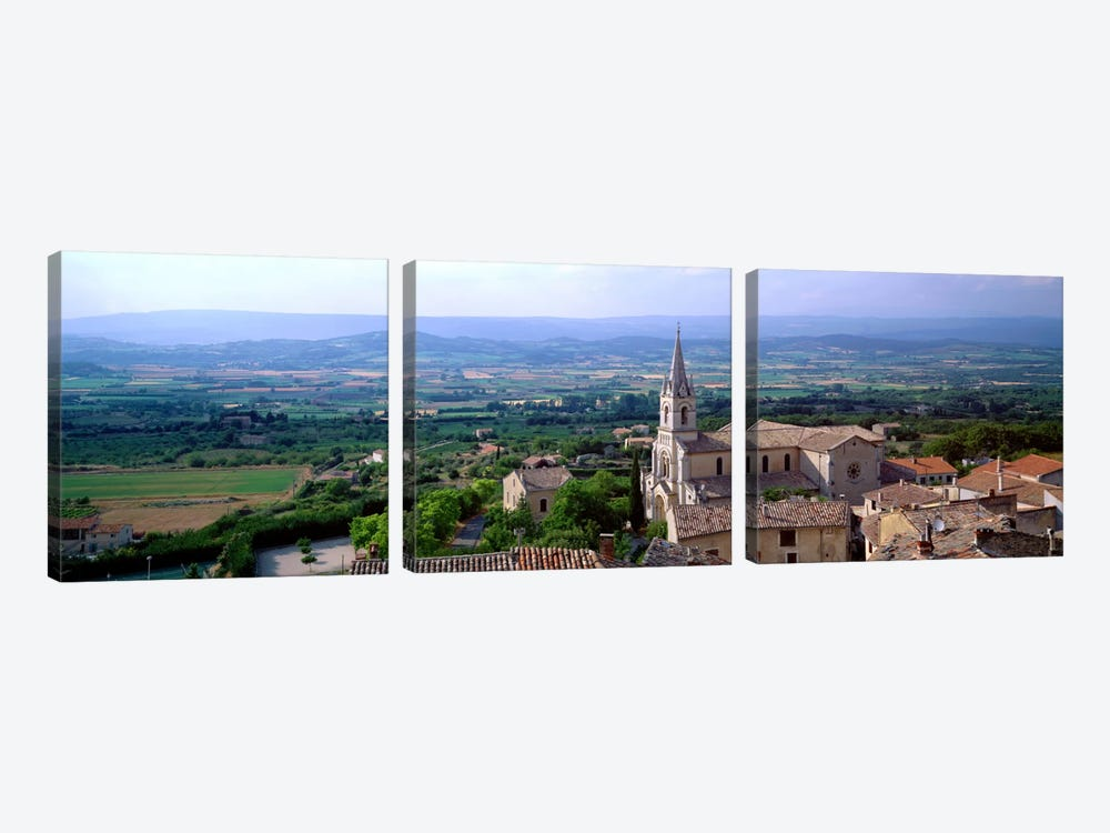 Aerial View Of A Church, Bonnieux, Provence-Alpes-Cote d'Azur, France by Panoramic Images 3-piece Canvas Art Print