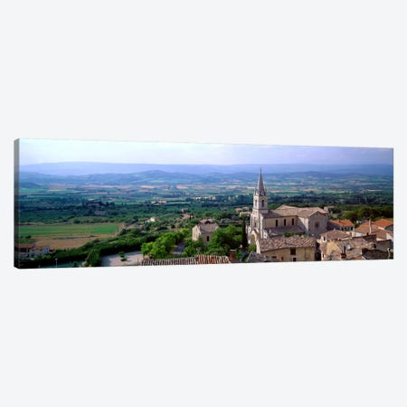 Aerial View Of A Church, Bonnieux, Provence-Alpes-Cote d'Azur, France 3-Piece Canvas #PIM530} by Panoramic Images Canvas Art