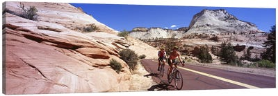 Two people cycling on the road, Zion National Park, Utah, USA Canvas Art Print
