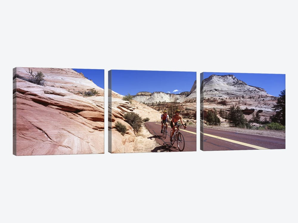 Two people cycling on the road, Zion National Park, Utah, USA by Panoramic Images 3-piece Art Print
