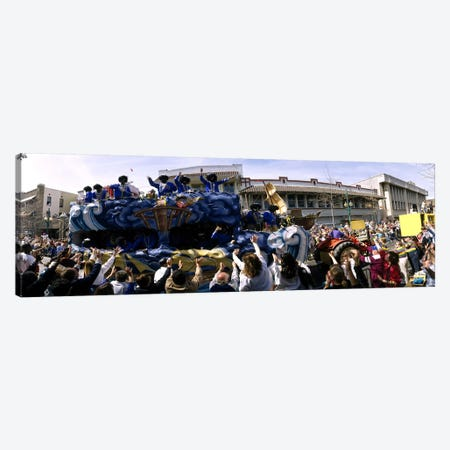 Crowd of people cheering a Mardi Gras Parade, New Orleans, Louisiana, USA Canvas Print #PIM5315} by Panoramic Images Canvas Art Print