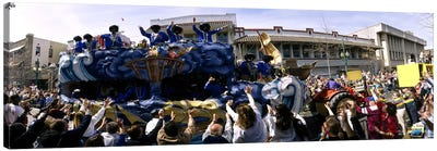 Crowd of people cheering a Mardi Gras Parade, New Orleans, Louisiana, USA Canvas Art Print