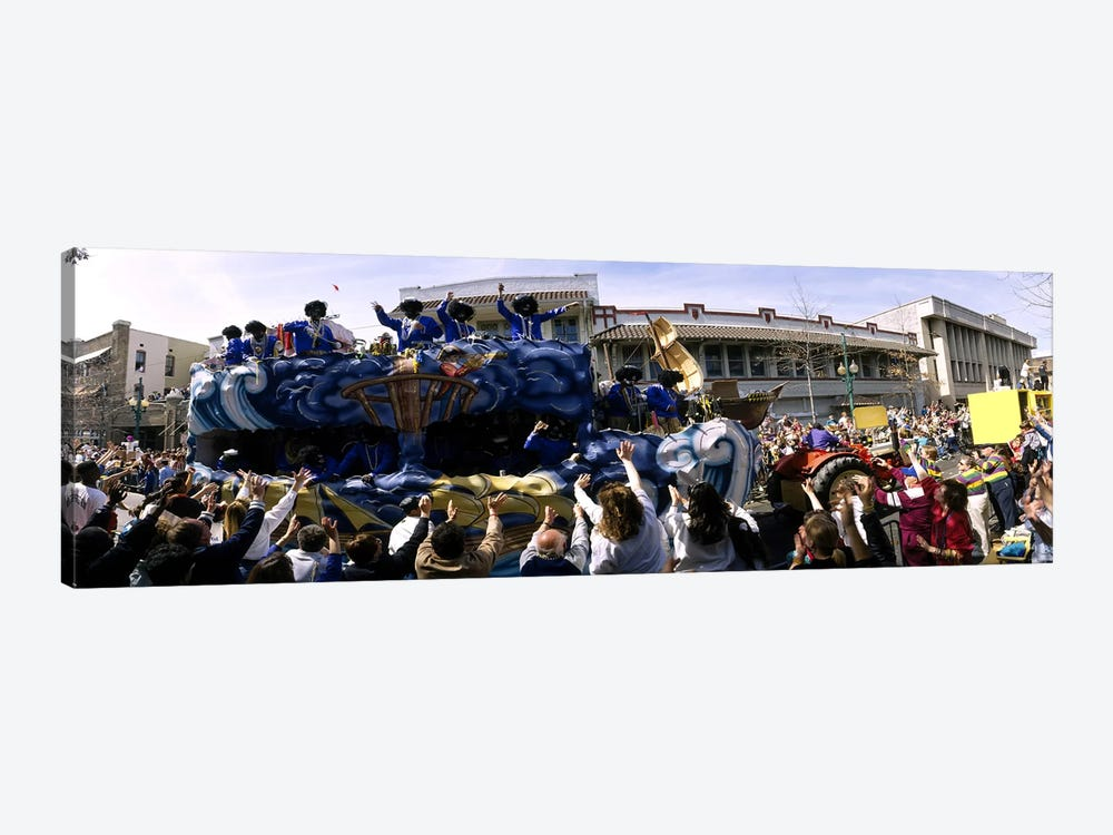 Crowd of people cheering a Mardi Gras Parade, New Orleans, Louisiana, USA by Panoramic Images 1-piece Canvas Art