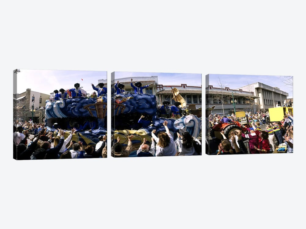 Crowd of people cheering a Mardi Gras Parade, New Orleans, Louisiana, USA by Panoramic Images 3-piece Canvas Art