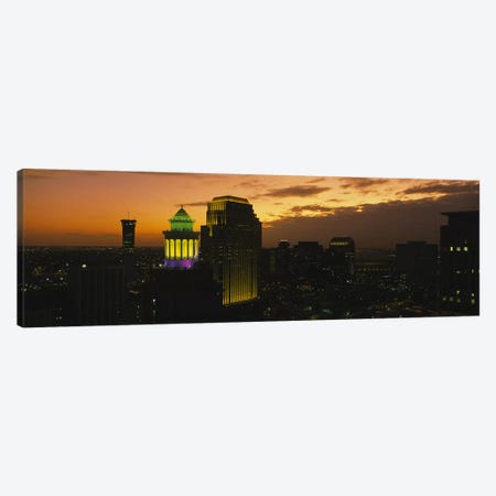 High angle view of buildings lit up at dusk, New Orleans, Louisiana, USA Canvas Print #PIM5316} by Panoramic Images Art Print