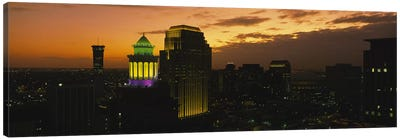 High angle view of buildings lit up at dusk, New Orleans, Louisiana, USA Canvas Art Print