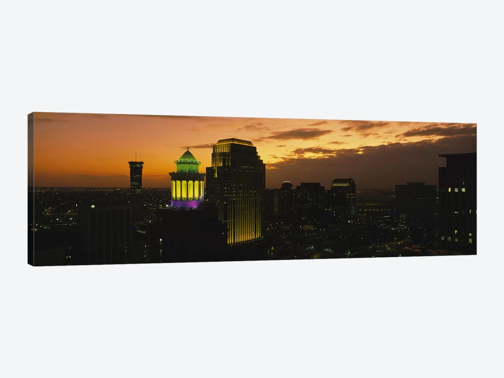 High angle view of buildings lit up at dusk, New Orleans, Louisiana, USA by Panoramic Images 1-piece Art Print