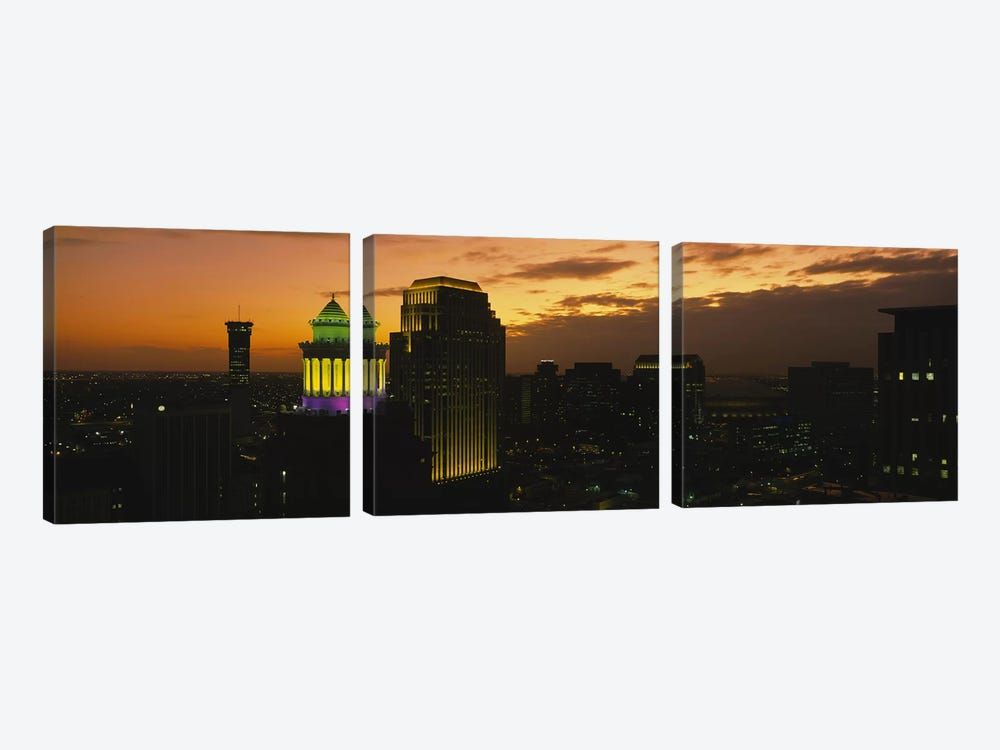 High angle view of buildings lit up at dusk, New Orleans, Louisiana, USA by Panoramic Images 3-piece Canvas Print