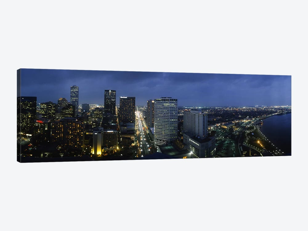 High angle view of buildings in a city lit up at night, New Orleans, Louisiana, USA by Panoramic Images 1-piece Canvas Art