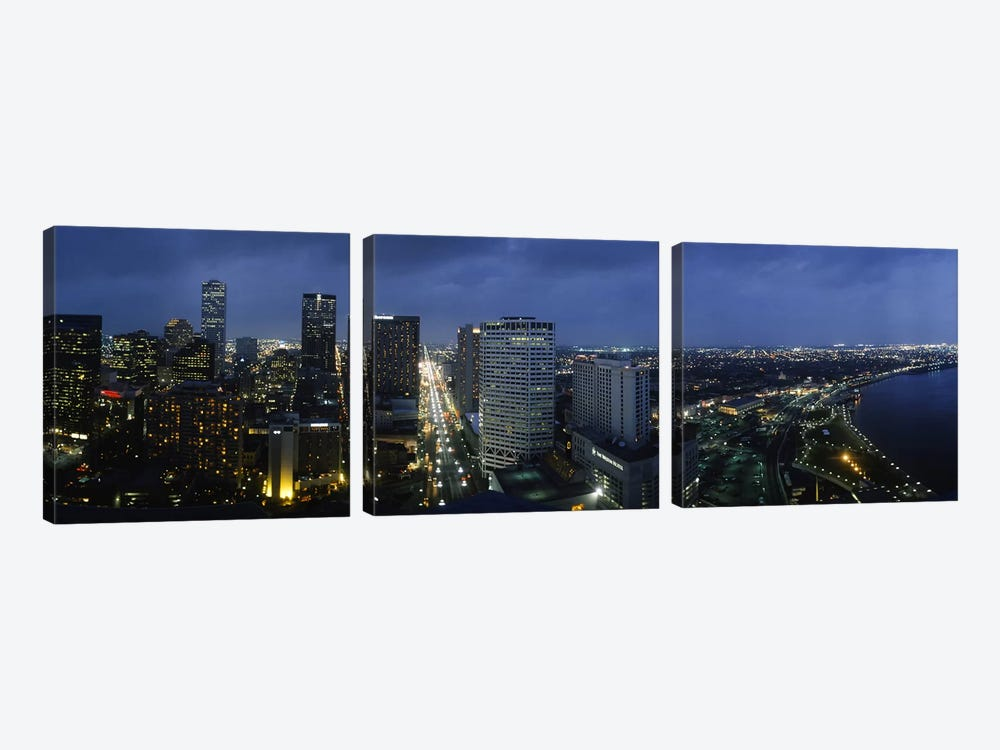 High angle view of buildings in a city lit up at night, New Orleans, Louisiana, USA by Panoramic Images 3-piece Canvas Artwork