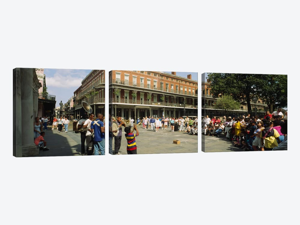 Tourists in front of a building, New Orleans, Louisiana, USA by Panoramic Images 3-piece Art Print
