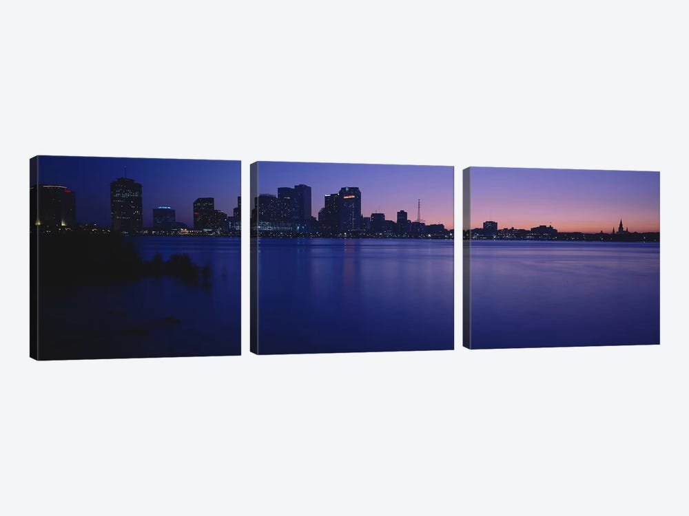 Buildings at the waterfront, New Orleans, Louisiana, USA by Panoramic Images 3-piece Canvas Artwork