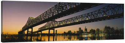 Low angle view of a bridge across a river, New Orleans, Louisiana, USA Canvas Art Print