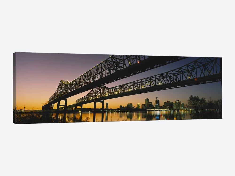 Low angle view of a bridge across a river, New Orleans, Louisiana, USA by Panoramic Images 1-piece Canvas Artwork