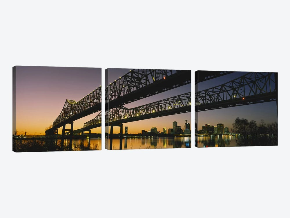 Low angle view of a bridge across a river, New Orleans, Louisiana, USA 3-piece Canvas Artwork