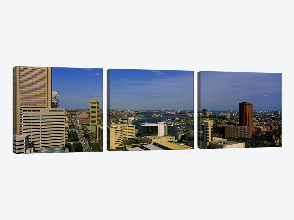 High angle view of skyscrapers in a city, Baltimore, Maryland, USA by Panoramic Images 3-piece Canvas Wall Art
