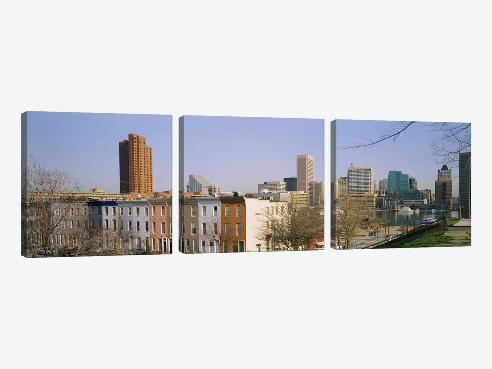 High angle view of buildings in a city, Inner Harbor, Baltimore, Maryland, USA by Panoramic Images 3-piece Canvas Art Print