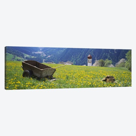 Wheelbarrow In A Field, Tyrol, Austria Canvas Print #PIM5330} by Panoramic Images Canvas Art