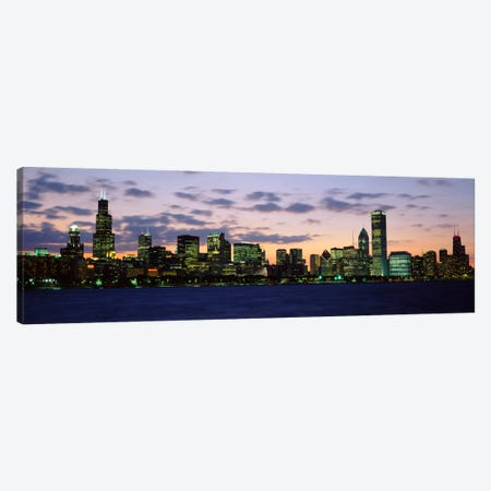 Buildings in a city at duskChicago, Illinois, USA Canvas Print #PIM533} by Panoramic Images Canvas Artwork