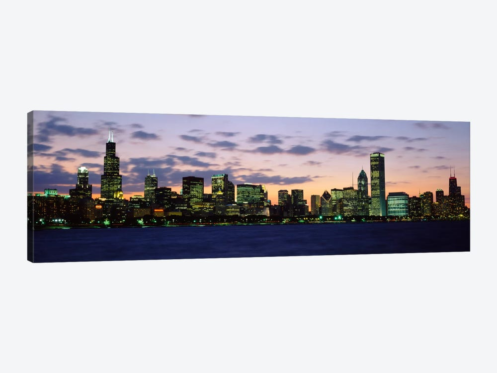 Buildings in a city at duskChicago, Illinois, USA by Panoramic Images 1-piece Canvas Art