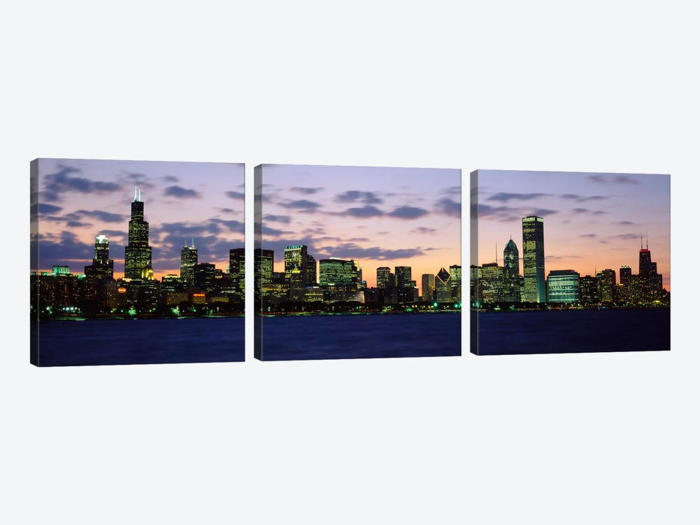 Buildings in a city at duskChicago, Illinois, USA by Panoramic Images 3-piece Canvas Artwork