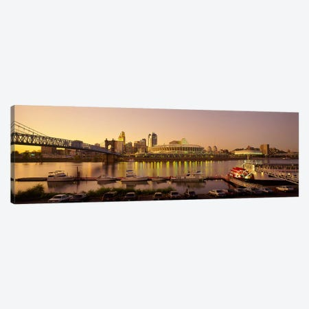 Buildings in a city lit up at dusk, Cincinnati, Ohio, USA Canvas Print #PIM5349} by Panoramic Images Canvas Print