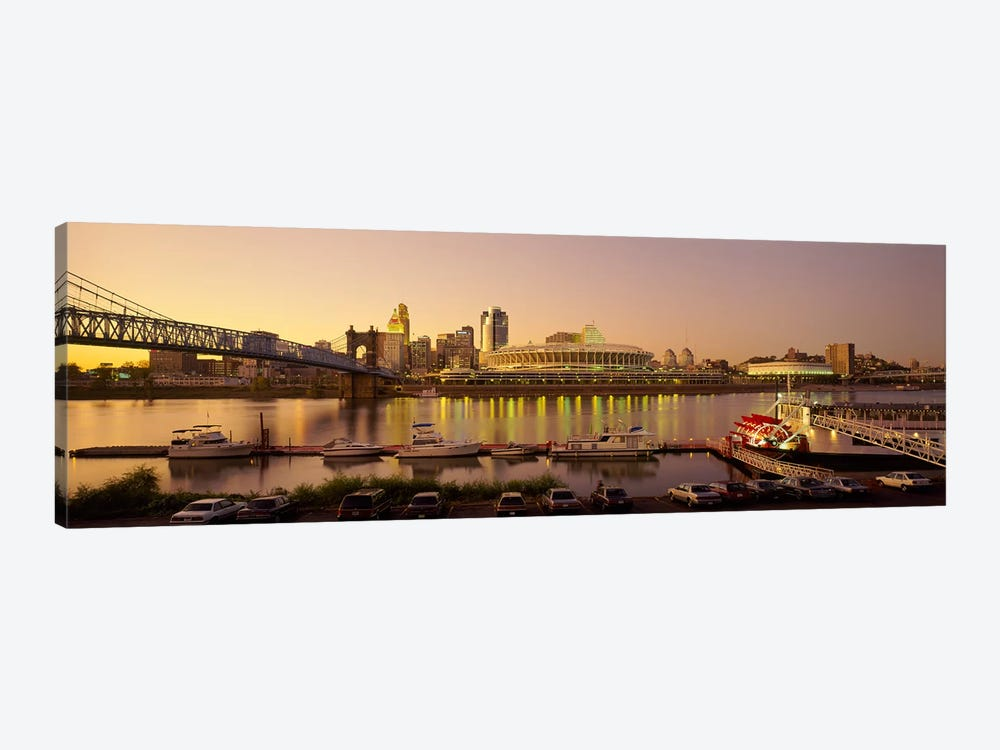Buildings in a city lit up at dusk, Cincinnati, Ohio, USA by Panoramic Images 1-piece Canvas Art Print