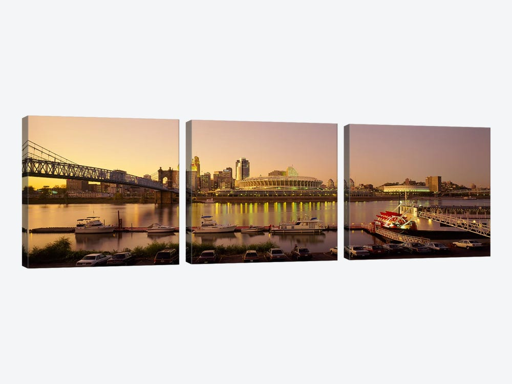Buildings in a city lit up at dusk, Cincinnati, Ohio, USA by Panoramic Images 3-piece Art Print