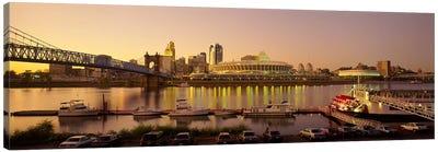 Buildings in a city lit up at dusk, Cincinnati, Ohio, USA Canvas Art Print