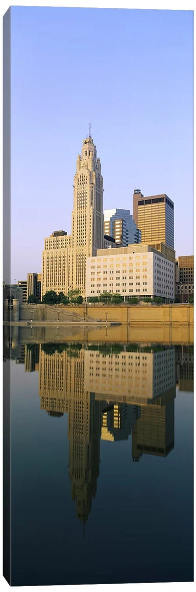 Reflection of buildings in a river, Scioto River, Columbus, Ohio, USA Canvas Art Print