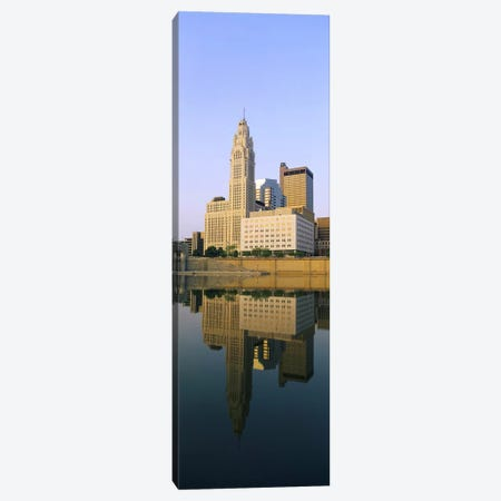 Reflection of buildings in a river, Scioto River, Columbus, Ohio, USA Canvas Print #PIM5350} by Panoramic Images Canvas Artwork