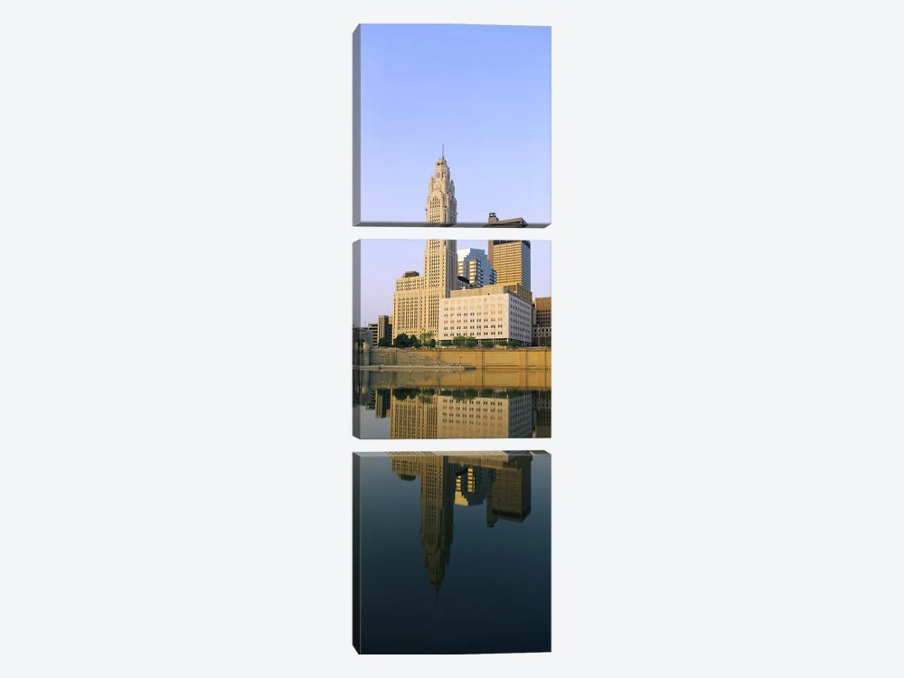 Reflection of buildings in a river, Scioto River, Columbus, Ohio, USA by Panoramic Images 3-piece Art Print