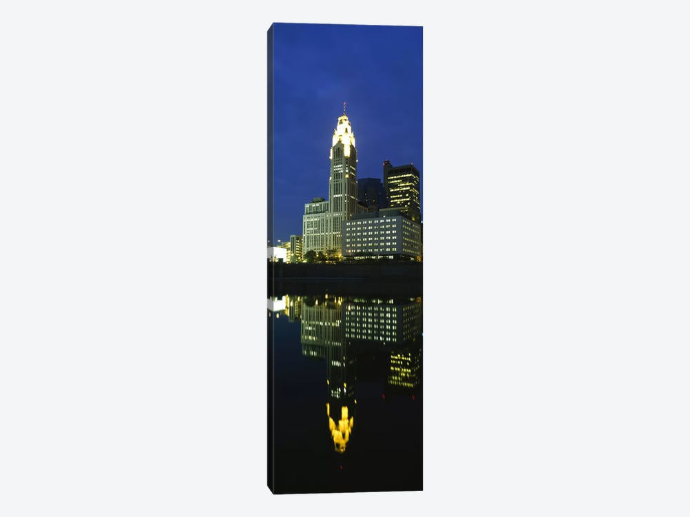 Buildings in a city lit up at night, Scioto River, Columbus, Ohio, USA by Panoramic Images 1-piece Canvas Artwork