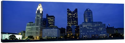 Low angle view of buildings lit up at night, Columbus, Ohio, USA Canvas Art Print