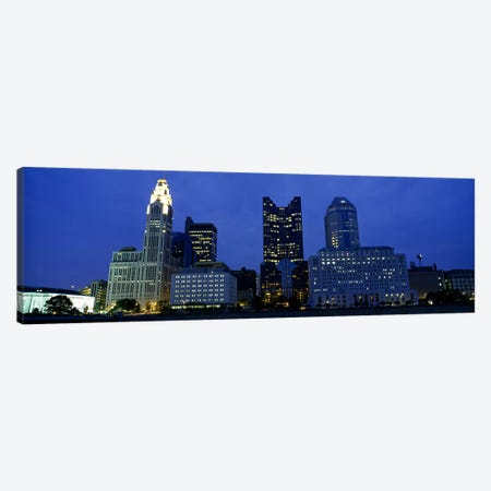Low angle view of buildings lit up at night, Columbus, Ohio, USA Canvas Print #PIM5352} by Panoramic Images Canvas Wall Art