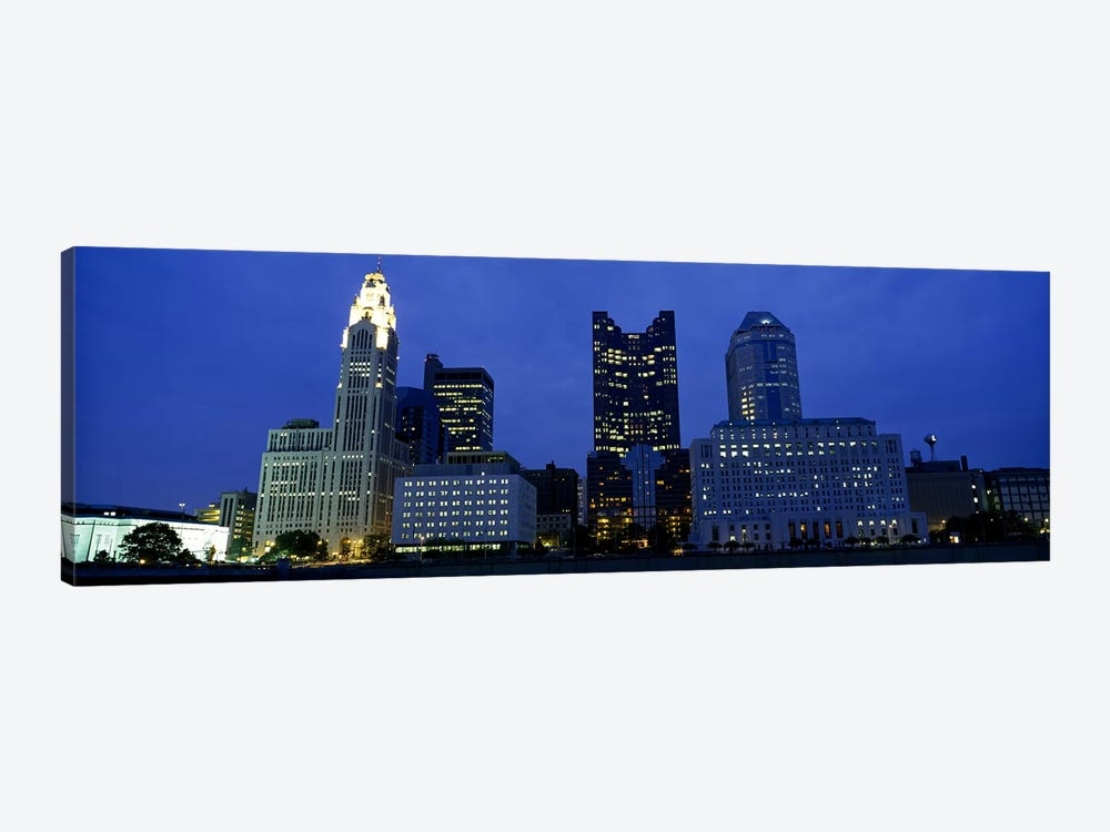 Low angle view of buildings lit up at night, Columbus, Ohio, USA 1-piece Canvas Art Print