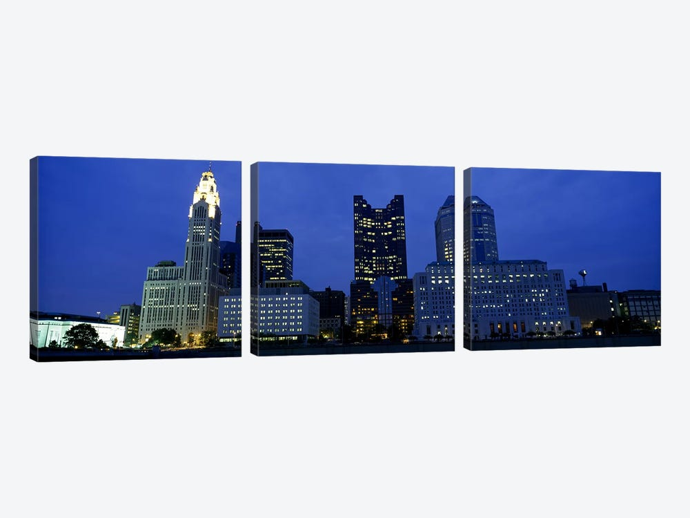 Low angle view of buildings lit up at night, Columbus, Ohio, USA by Panoramic Images 3-piece Canvas Art Print