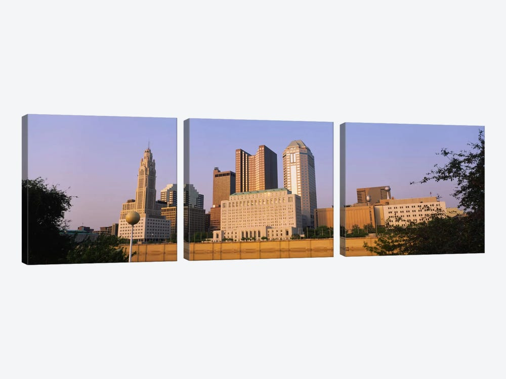 Low angle view of buildings in a city, Scioto River, Columbus, Ohio, USA by Panoramic Images 3-piece Canvas Art