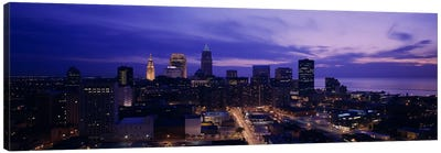 High angle view of buildings in a city, Cleveland, Ohio, USA Canvas Art Print