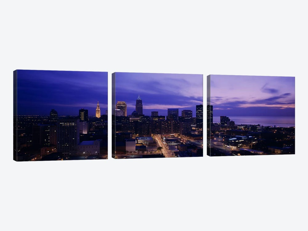 High angle view of buildings in a city, Cleveland, Ohio, USA by Panoramic Images 3-piece Canvas Art Print