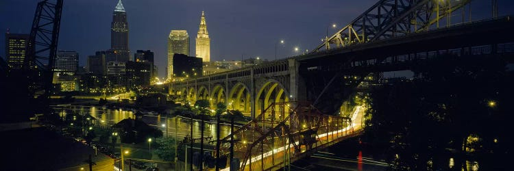 Arch Bridge Buildings Lit Up At Nightcleveland Ohio Usa Ar Icanvas
