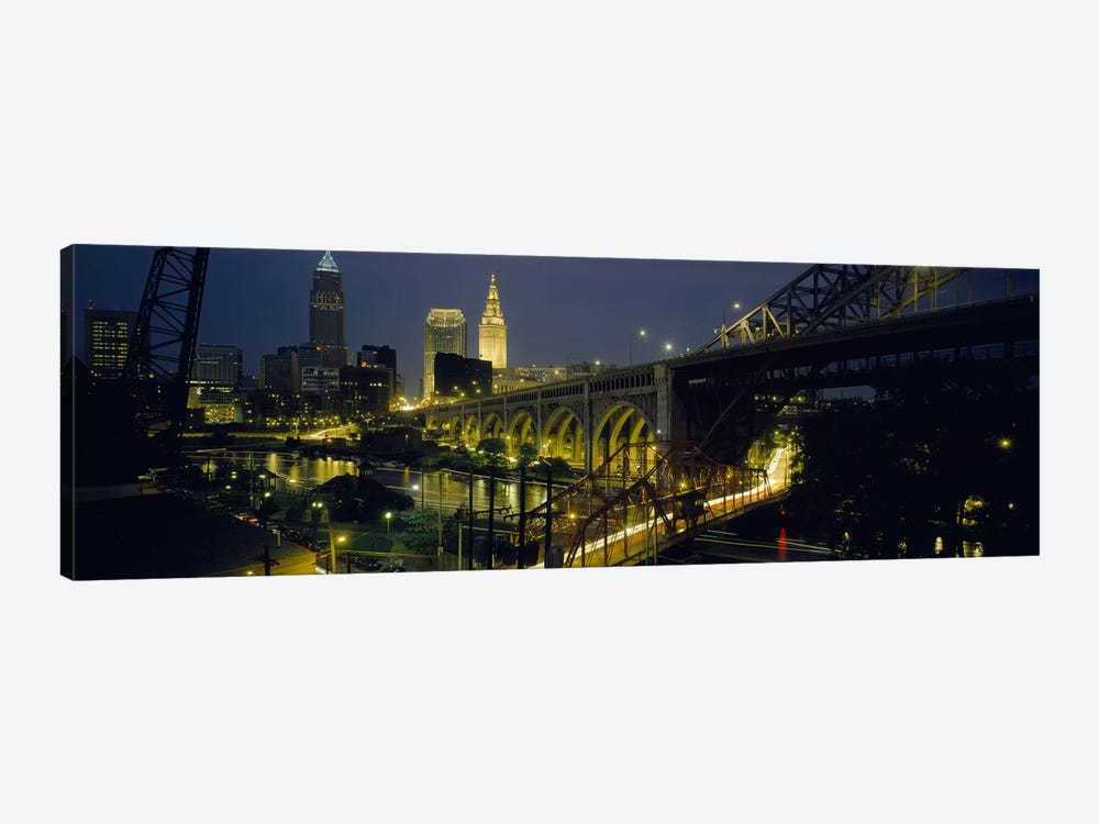 Arch bridge & buildings lit up at nightCleveland, Ohio, USA by Panoramic Images 1-piece Canvas Wall Art