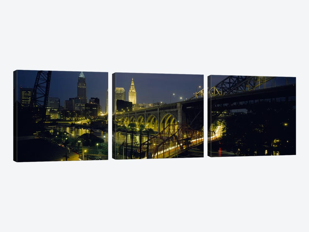 Arch bridge & buildings lit up at nightCleveland, Ohio, USA by Panoramic Images 3-piece Canvas Wall Art