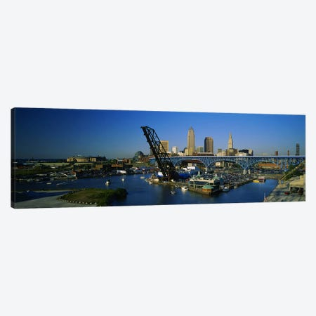 High angle view of boats in a river, Cleveland, Ohio, USA Canvas Print #PIM5356} by Panoramic Images Art Print