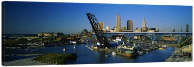 High angle view of boats in a river, Cleveland, Ohio, USA Canvas Art Print