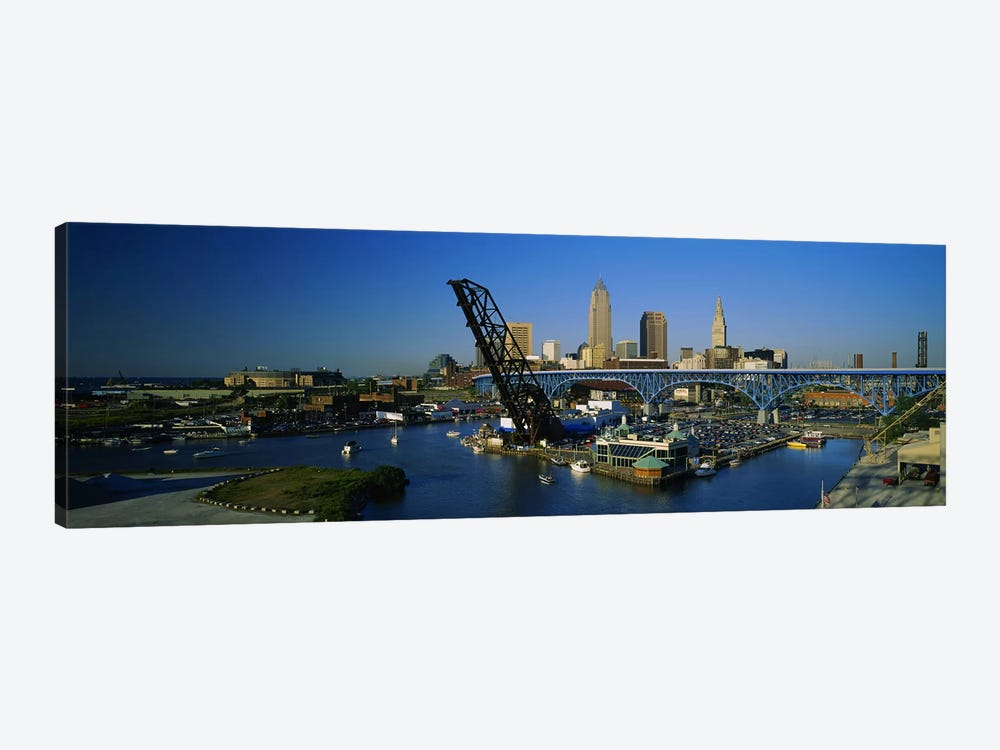 High angle view of boats in a river, Cleveland, Ohio, USA by Panoramic Images 1-piece Art Print