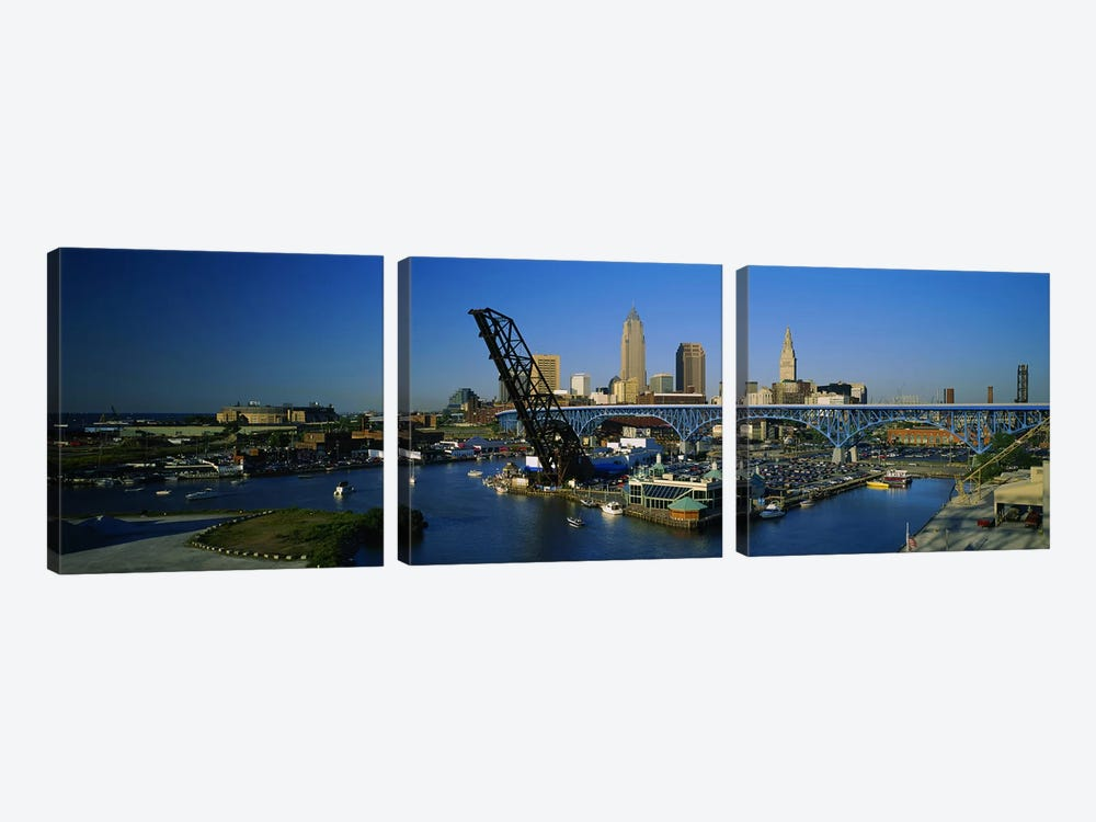 High angle view of boats in a river, Cleveland, Ohio, USA by Panoramic Images 3-piece Canvas Art Print