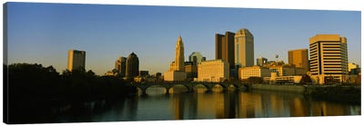 High angle view of buildings at the waterfront, Columbus, Ohio, USA Canvas Art Print