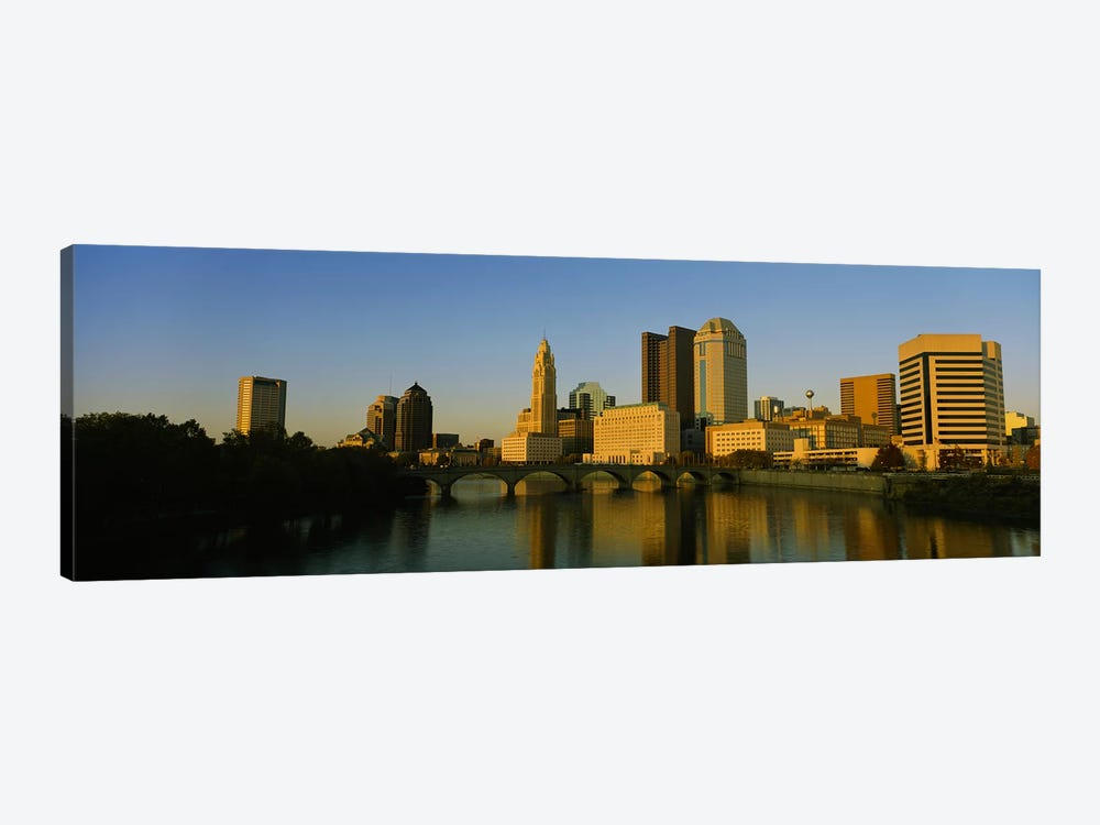 High angle view of buildings at the waterfront, Columbus, Ohio, USA by Panoramic Images 1-piece Canvas Artwork